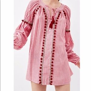 Zara TRF collection flowy striped shirt w/Pom Pom